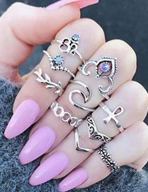 Fashion Silver Color Leaf&flower Shape Decorated Ring (10pcs)