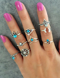 Fashion Blue+silver Color Wheel Shape Decorated Ring (9pcs)