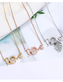 Fashion Rose Gold Copper Micro-inlaid Zircon Letter Hollow Necklace