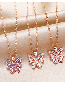 Fashion Red Copper Micro-inlaid Zircon Fish-shaped Necklace