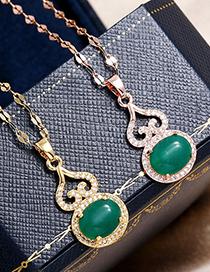 Fashion Gold Color Copper Micro-inlaid Zircon Gourd Bag Necklace
