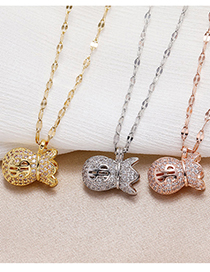 Fashion Rose Gold Copper Micro-inlaid Zircon Wallet Necklace