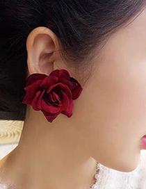 Fashion White Fabric Rose Earrings