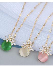 Fashion Green Flower Inlaid Zircon Pendant Necklace