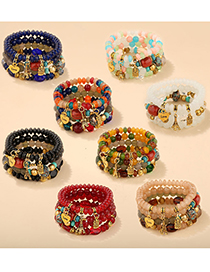 Fashion Red Love Animal Tower Beaded Multilayer Bracelet
