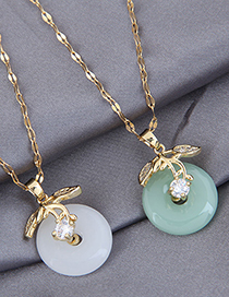 Fashion White Jade Alloy Necklace With Branches And Leaves