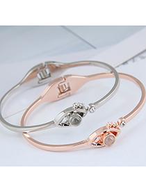 Fashion Silver Color Eye Diamond Open Alloy Bracelet