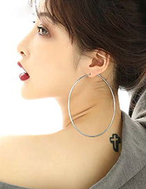 Fashion Silver Color 70mm Smooth Round Alloy Earrings