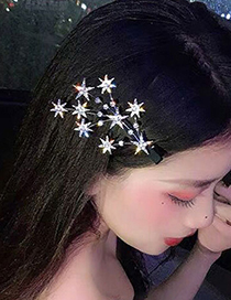 Fashion Gold Color Diamond-studded Star Branch Alloy Hairpin