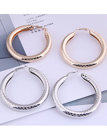 Fashion Silver Color Snakeskin Pattern Round Alloy Bold Earrings