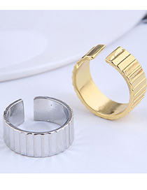 Fashion Gold Color Wave Pattern Wide Edge Open Ring