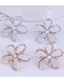 Fashion Silver Diamond And Pearl Flower Hollow Alloy Stud Earrings
