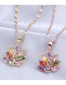 Fashion Golden Peacock Micro Zircon Pendant Necklace