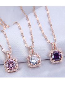 Fashion Purple Diamond Cube Pendant Micro Zircon Necklace