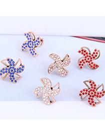 Fashion Royal Blue Rotatable Windmill Diamond Hollow Earrings