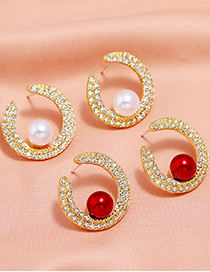 Fashion Red Metal Pearl And Diamond Meniscus Earrings