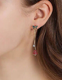 Fashion Red Bow Bell Stud Earrings