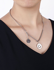 Fashion Silver Stainless Steel Smiley Face Necklace