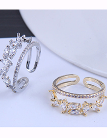 Fashion Silver Copper Inlaid Zirconium Branches And Leaves Open Ring