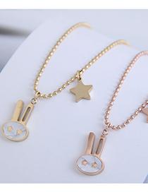 Fashion Rose Gold Rabbit Five-pointed Star Titanium Steel Necklace