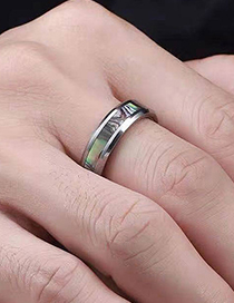 Fashion Silver Color Stainless Steel Inlaid Shell Ring