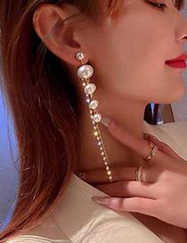 Fashion White Pearl Sparkling Diamond Pearl Stud Earrings