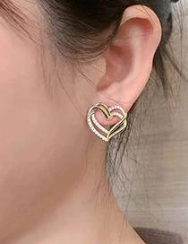 Fashion Golden Flash Diamond Love Stud Earrings