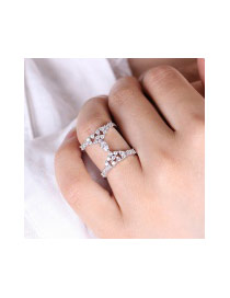 Exaggerated Rose Gold Oval Shape Diamond Decorated Double Layer Simple Ring