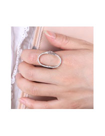 Elegant White Diamond Decorated Hollow Out Oval Shape Pure Color Ring
