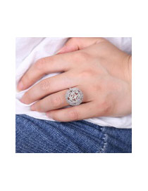 Fashion Silver Color Diamond Decorated Hollow Out Ball Shape Pure Color Ring