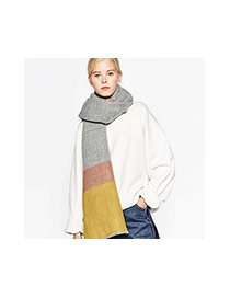Fashion Multi-color Color Matching Decorated Simple Design Scarf