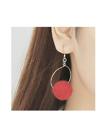 Retro Red Ball Shape Decorated Round Pendant Earring