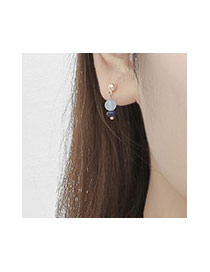 Fashion Blue Double Beads Pendant Decorated Simple Earring