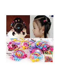 Fashion Multi-color Heart Shape Decorated Color Matching Design Simple Hair Rope(50pcs Randomly)