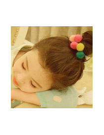 Fashion Multi-color Fuzzy Balls Decorated Color Matching Design Simple Hair Band