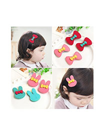 Fashion Red Bowknot Decorated Rabbit Ears Simple Hair Sticky