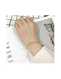 Fashion Silver Color Letter Decorated Simple Pure Color Opening Bracelet