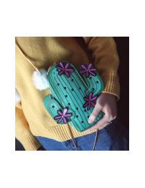 Fashion Green Flowers Decorated Cactus Shape Color Matching Shoulder Bag