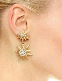 Trendy Gold Color Diamond Decorated Radiation Shape Design Earrings