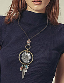 Fashion Antique Silver Feather&face Pendant Decorated Simple Necklace
