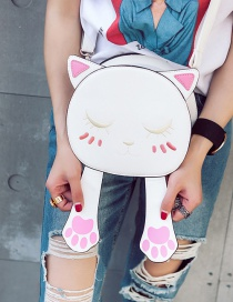 Trendy Yellow Embroidery Cat Pattern Decorated Pure Color Simple Shoulder Bag