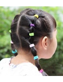 Cute Purple Pure Color Decorated Simple Round Hair Band (10pcs)