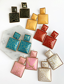 Fashion Red Alloy Resin Square Earrings