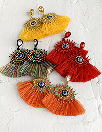 Fashion Yellow Alloy Studded Eye Tassel Earrings