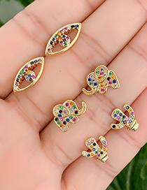 Fashion Gold Copper Inlaid Zircon Elephant Stud Earrings