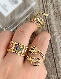 Fashion Gold Copper Inlaid Zircon Geometric Ring