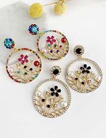 Fashion Color Alloy Diamond Round Branch Flower Earrings