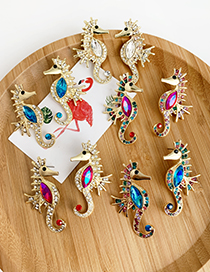 Fashion Blue Color Alloy Studded Hippocampus