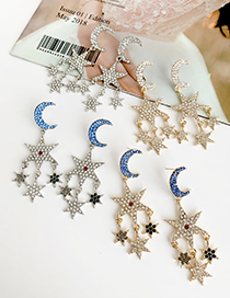 Fashion Blue Moon + Silver Alloy Diamond Star Moon Earrings