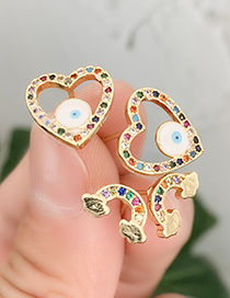 Fashion Gold Copper Inlaid Zircon White Earrings